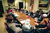 """United States Vice President Dick Cheney and Deputy Secretary of Defense Paul Wolfowitz meet with Women for a Free Iraq and other Iraqis in the Roosevelt Room at the White House in Washington, DC on March 7, 2003.  Also attending the meeting was the Vice President's Chief of Staff I. Lewis """"Scooter"""" Libby<br /> Mandatory Credit: David Bohrer / White House via CNP"""