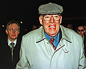 Archive Picture. Ulster Democratic Party Leader Dr Ian Paisley faces the media cameras early Friday, April 10, 1998, along  Peter Robinson (left) as they march into the media conference centre outside Castle Buildings, Stormont, Belfast, during late night peace talks on Northern Ireland.  Photo/Paul McErlane Photography