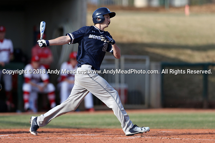 CARY, NC - FEBRUARY 23: Monmouth's John LaRocca. The Monmouth University Hawks played the Saint John's University Red Storm on February 23, 2018 on Field 2 at the USA Baseball National Training Complex in Cary, NC in a Division I College Baseball game. St John's won the game 3-0.