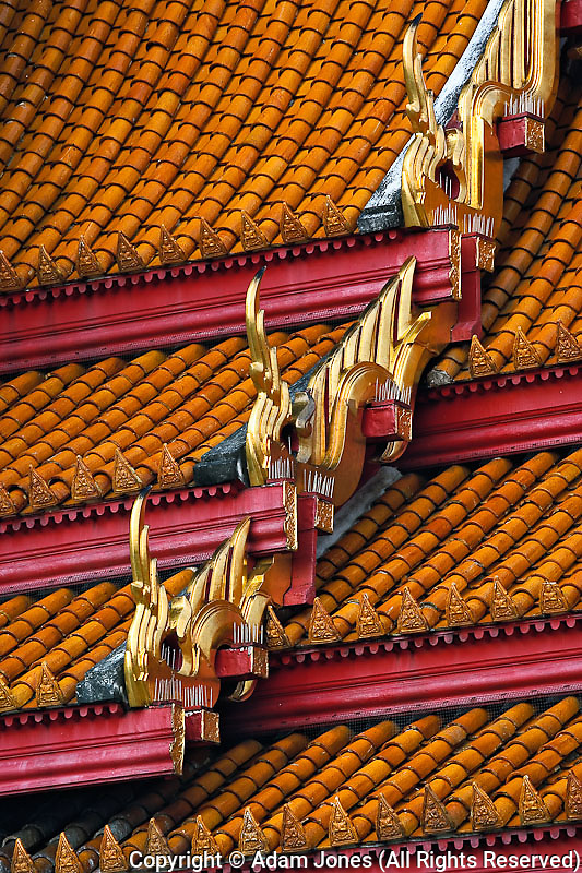 Ornate rooftop architecture of the Ordination Hall (Ubosot Hall) at Wat Benchamabophit;Bangkok;Thailand