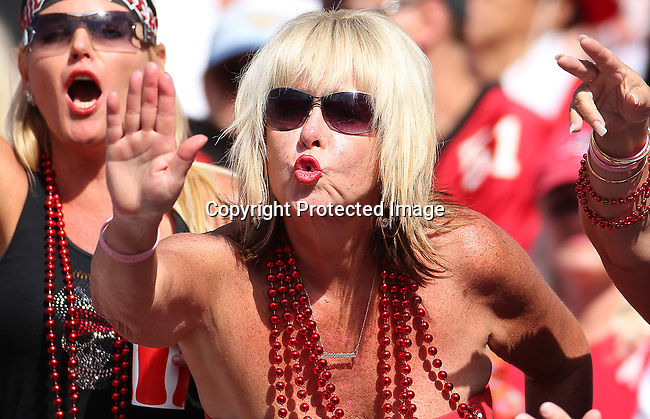 Tampa Bay Buccaneers fans celebrate a touchdown against the New Orleans Saints.  The Saints defeated the Buccaneers 31-6 in Tampa, Fla, Sunday, October 17, 2010. (AP Photo/Margaret Bowles)