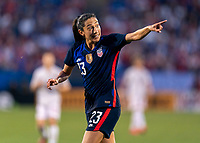 FRISCO, TX - MARCH 11: Christen Press #23 of the United States yells to a referee during a game between Japan and USWNT at Toyota Stadium on March 11, 2020 in Frisco, Texas.
