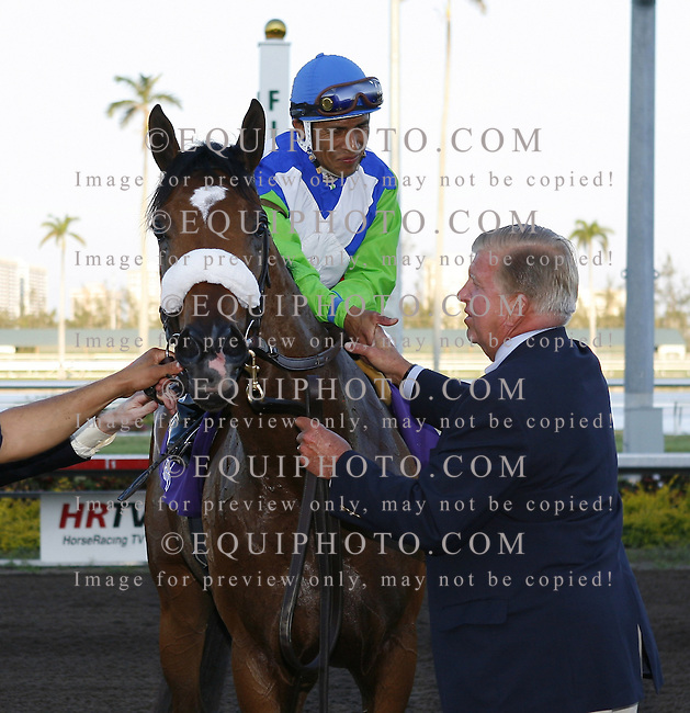 Owner/Breeder Roy Jackson greets Edgar Prado aboard Barbaro after winning the $1,000,000 Florida Derby at Gulfstream Park in Hallandale, Florida on Saturday April 1, 2006. Photo By Gary I. Rothstein/EQUI-PHOTO