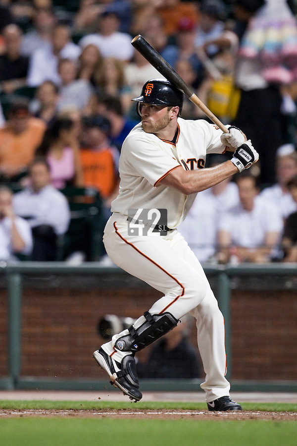 21 April 2009: San Francisco Giants' Nate Schierholtz is seen at bat during the San Francisco Giants' 8-3 win  over the San Diego Padres at AT&T Park in San Francisco, CA.