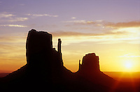 USA, Arizona, Monument Valley Navajo Tribal Park,sunrise over the Left and Right Mittens