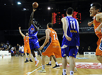 Majok Majok tries to get a final shot away as the final buzzer sounds during the national basketball league final  between Wellington Saints and Southland Sharks at TSB Bank Arena in Wellington, New Zealand on Sunday, 5 August 2018. Photo: Dave Lintott / lintottphoto.co.nz