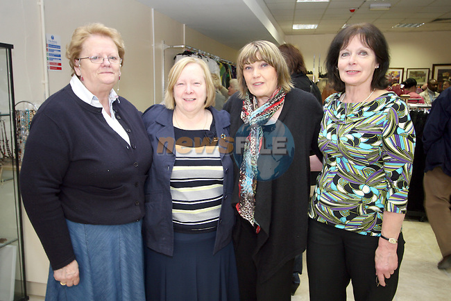 Joy Darcy, volunteer, Sheelagh Sheridan, Shop Manager, Ros Trodden, volunteer and Carol Gough, Assistant Manager at the Opening of the new Cancer Shop in the Abbey Shopping Centre...Photo NEWSFILE/Jenny Matthews.(Photo credit should read Jenny Matthews/NEWSFILE)....This Picture has been sent you under the condtions enclosed by:.Newsfile Ltd..The Studio,.Millmount Abbey,.Drogheda,.Co Meath..Ireland..Tel: +353(0)41-9871240.Fax: +353(0)41-9871260.GSM: +353(0)86-2500958.email: pictures@newsfile.ie.www.newsfile.ie.FTP: 193.120.102.198.