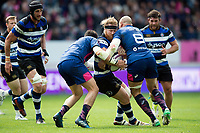 Ross Batty of Bath Rugby takes on the Stade Francais defence. European Rugby Challenge Cup Semi Final, between Stade Francais and Bath Rugby on April 23, 2017 at the Stade Jean-Bouin in Paris, France. Photo by: Patrick Khachfe / Onside Images