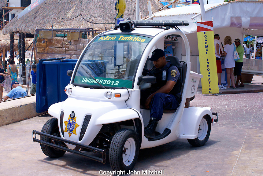 Eco -friendly electric police vehicle  in Playa del Carmen, Riviera Maya, Quintana Roo, Mexico.