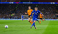 Joe Bennett of Cardiff City shoots wide when through on goal during the Sky Bet Championship match between Cardiff City and Wolverhampton Wanderers at the Cardiff City Stadium, Cardiff, Wales on 6 April 2018. Photo by Mark  Hawkins / PRiME Media Images.