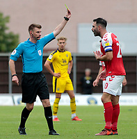 Fleetwood Town's Craig Morgan is booked by referee Ollie Yates<br /> <br /> Photographer David Shipman/CameraSport<br /> <br /> The EFL Sky Bet League One - Oxford United v Fleetwood Town - Saturday August 11th 2018 - Kassam Stadium - Oxford<br /> <br /> World Copyright &copy; 2018 CameraSport. All rights reserved. 43 Linden Ave. Countesthorpe. Leicester. England. LE8 5PG - Tel: +44 (0) 116 277 4147 - admin@camerasport.com - www.camerasport.com