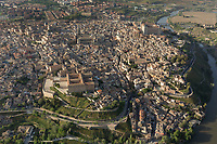aerial view of historic city of Toledo, Spain
