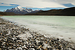 Mountains and saline lake, Amarga Lagoon, Torres del Paine, Torres del Paine National Park, Patagonia, Chile