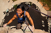 Highly trained athletes challenge their bodies -- and minds -- with the urban climbing structures at the U.S. National Whitewater Center in Charlotte, NC. With more than 40 roped climbs and structures that are made to look and feel like granite, the USNWC is one of the world's largest outdoor climbing centers.