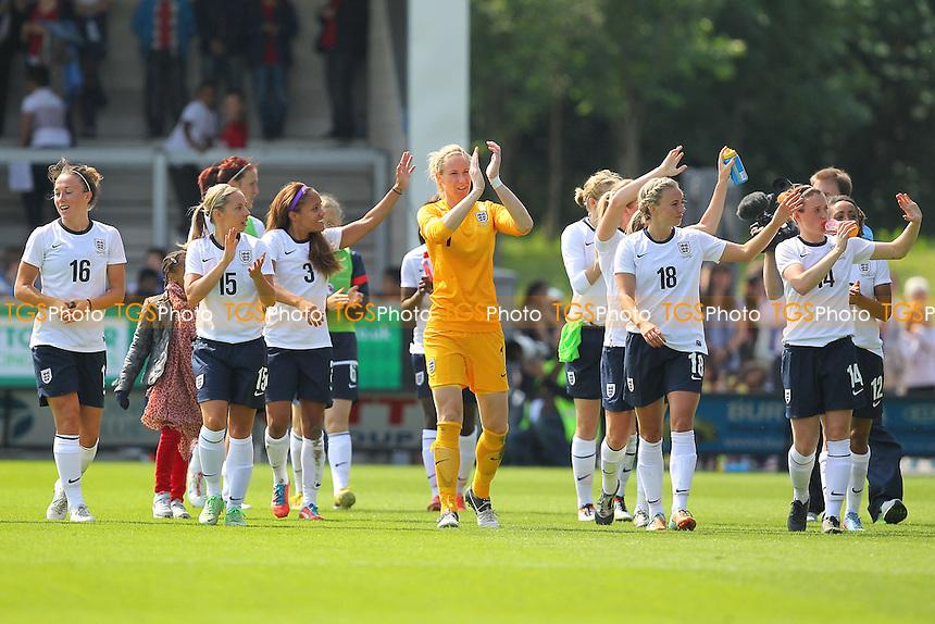 England players applaud the fans at the final whistle - England Women vs Japan Women - Friendly Football International at the Pirelli Stadium, Burton Albion FC - 26/06/13 - MANDATORY CREDIT: Gavin Ellis/TGSPHOTO - Self billing applies where appropriate - 0845 094 6026 - contact@tgsphoto.co.uk - NO UNPAID USE
