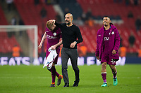 Manchester City manager Josep Guardiola celebrates with Manchester City's Kevin De Bruyne and Gabriel Jesus <br /> <br /> Photographer Craig Mercer/CameraSport<br /> <br /> The Premier League - Tottenham Hotspur v Manchester City - Saturday 14th April 2018 - Wembley Stadium - London<br /> <br /> World Copyright &copy; 2018 CameraSport. All rights reserved. 43 Linden Ave. Countesthorpe. Leicester. England. LE8 5PG - Tel: +44 (0) 116 277 4147 - admin@camerasport.com - www.camerasport.com