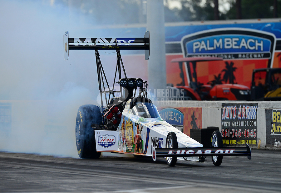 Jan. 16, 2013; Jupiter, FL, USA: NHRA top fuel dragster driver Brandon Bernstein during testing at the PRO Winter Warmup at Palm Beach International Raceway.  Mandatory Credit: Mark J. Rebilas-