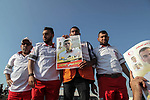 Palestinian medics protest against the killing of their fellow Mohammad al-Jadili, who was died of wounds he sustained during a protest at the Israel-Gaza border fence, during the tents protest where Palestinians demand the right to return to their homeland at the Israel-Gaza border, in Jabalia in the northern Gaza Strip, June 14, 2019. Photo by Ramez Haboub