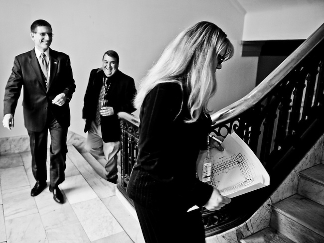 Rep.-elect Joe Heck, R-Nev., and his wife Lisa take a look at offices in the Cannon building on Thursday, Nov. 18, 2001, which will be available in the House office lottery for the newly elected members of Congress on Friday morning.