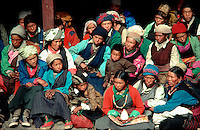 .Sherpa women and girls in the audience at the Mane Rimdu festival, Thyangboche Monastery, Khumbu region, Nepal...