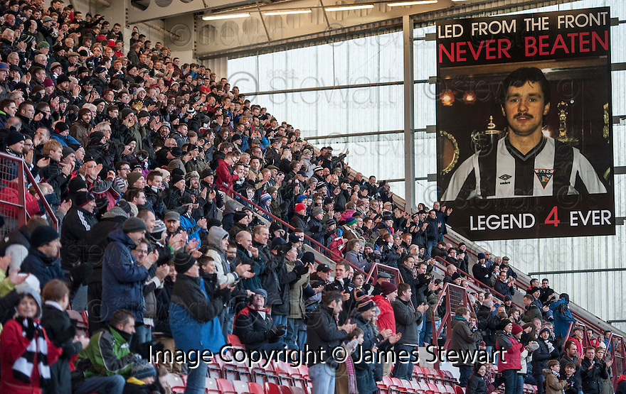 Dunfermline fans commemorate the 18th anniversary of the death of Norrie McCathie with a minute's applause on the fourth minute of the game.