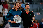 Stefanos Tsitsipas from Greece and Novak Djokovic from Serbia after the Mutua Madrid Open Masters final match on day eight at Caja Magica in Madrid, Spain. Novak Djokovic beat Stefanos Tsitsipas. May 12, 2019. (ALTERPHOTOS/A. Perez Meca)