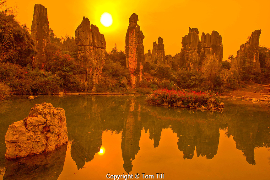 Spires at Little Stone Forest, Stone Forest National Geopark, Peoples Republic of China, Yunnan Province, Limestone pinnacles, UNESCO World Heritage Site