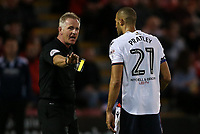 Bolton Wanderers' Darren Pratley receives a yellow card from referee Heywood.<br /> <br /> Photographer Andrew Kearns/CameraSport<br /> <br /> The Carabao Cup - Crewe Alexandra v Bolton Wanderers - Wednesday 9th August 2017 - Alexandra Stadium - Crewe<br />  <br /> World Copyright &copy; 2017 CameraSport. All rights reserved. 43 Linden Ave. Countesthorpe. Leicester. England. LE8 5PG - Tel: +44 (0) 116 277 4147 - admin@camerasport.com - www.camerasport.com
