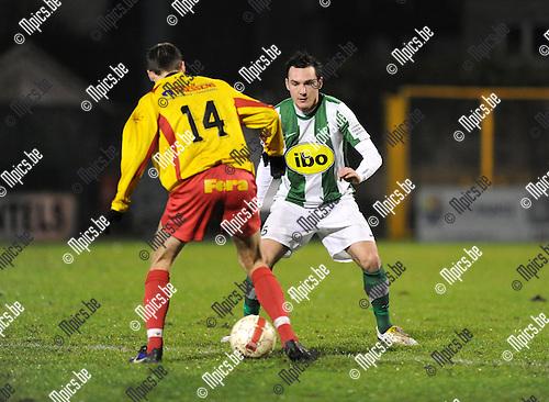 2011-12-17 / Voetbal / seizoen 2011-2012 / Racing Mechelen - Bornem / Nick de Groote (14) met Bert Tuteleers van RCM..Foto: Mpics.be