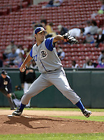 June 26, 2004:  Pitcher Tim Corcoran of the Durham Bulls, International League (AAA) affiliate of the Tampa Bay Devil Rays, during a game at Dunn Tire Park in Buffalo, NY.  Photo by:  Mike Janes/Four Seam Images