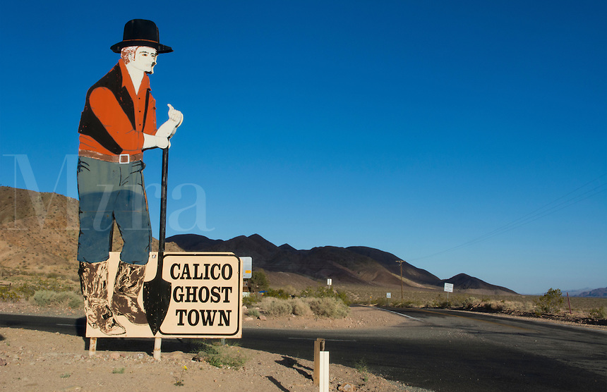 Calico Ghost Town Barstow CA California sign for tourist in  old cowboy town of the 1800's cowboys