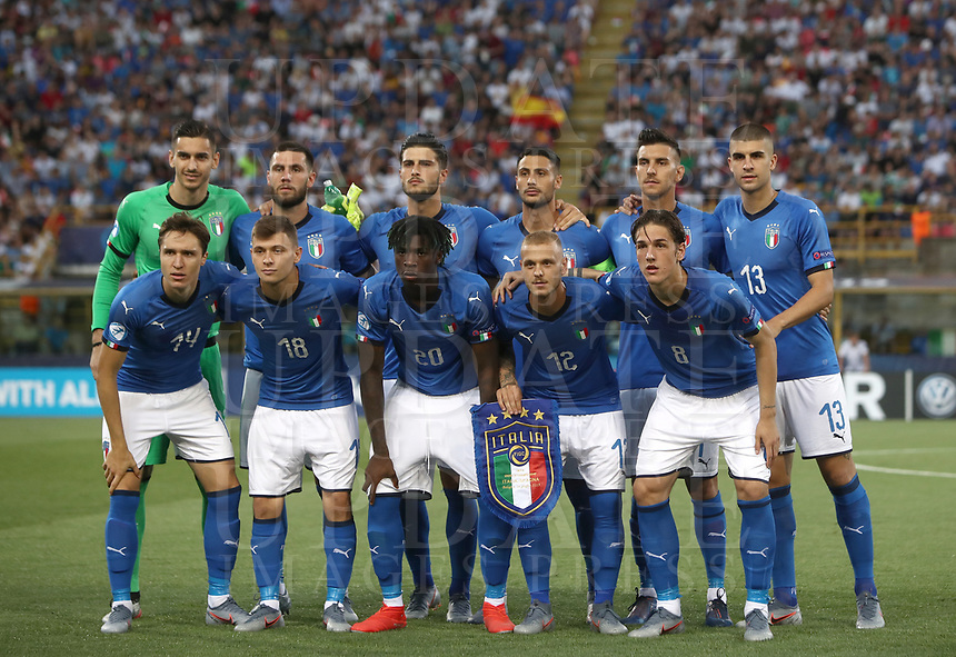 Football: Uefa European under 21Championship 2019, Italy - Spain Renato Dall'Ara stadium Bologna Italy on June16, 2019.<br /> Italy players pose for the pre match photograph prior to tthe start of the Uefa European under 21 Championship 2019 football match between Italy and Spain at Renato Dall'Ara stadium in Bologna, Italy on June16, 2019.<br /> UPDATE IMAGES PRESS/Isabella Bonotto