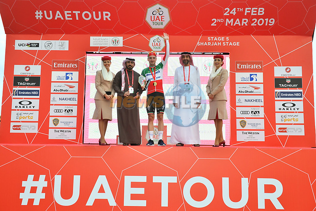 Italian National Champion Elia Viviani (ITA) Deceuninck-Quick Step wins Stage 5 of the 2019 UAE Tour, running 181km form Sharjah to Khor Fakkan, Dubai, United Arab Emirates. 28th February 2019.<br /> Picture: LaPresse/Massimo Paolone | Cyclefile<br /> <br /> <br /> All photos usage must carry mandatory copyright credit (© Cyclefile | LaPresse/Massimo Paolone)