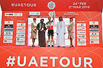 Italian National Champion Elia Viviani (ITA) Deceuninck-Quick Step wins Stage 5 of the 2019 UAE Tour, running 181km form Sharjah to Khor Fakkan, Dubai, United Arab Emirates. 28th February 2019.<br /> Picture: LaPresse/Massimo Paolone | Cyclefile<br /> <br /> <br /> All photos usage must carry mandatory copyright credit (&copy; Cyclefile | LaPresse/Massimo Paolone)