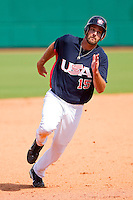 Jordan Danks #15 of the United States World Cup/Pan Am Team hustles towards third base against Team Canada at the USA Baseball National Training Center on September 28, 2011 in Cary, North Carolina.  (Brian Westerholt / Four Seam Images)