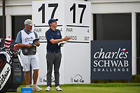 Matt Fitzpatrick (ENG) checks the winds on the tee on 17 during round 1 of the 2019 Charles Schwab Challenge, Colonial Country Club, Ft. Worth, Texas,  USA. 5/23/2019.<br /> Picture: Golffile | Ken Murray<br /> <br /> All photo usage must carry mandatory copyright credit (© Golffile | Ken Murray)