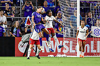 Orlando, FL - Saturday July 07, 2018: Sydney Leroux, Taylor Smith during the second half of a regular season National Women's Soccer League (NWSL) match between the Orlando Pride and the Washington Spirit at Orlando City Stadium. Orlando defeated Washington 2-1.