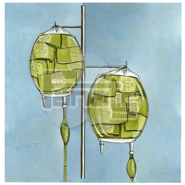 US dollar notes in intravenous saline drip on IV pole