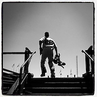 SAN FRANCISCO, CA - AUGUST 16: Instagram of Buster Posey of the San Francisco Giants walking onto the field before a game against the Philadelphia Phillies at AT&T Park on August 16, 2014 in San Francisco, California. Photo by Brad Mangin