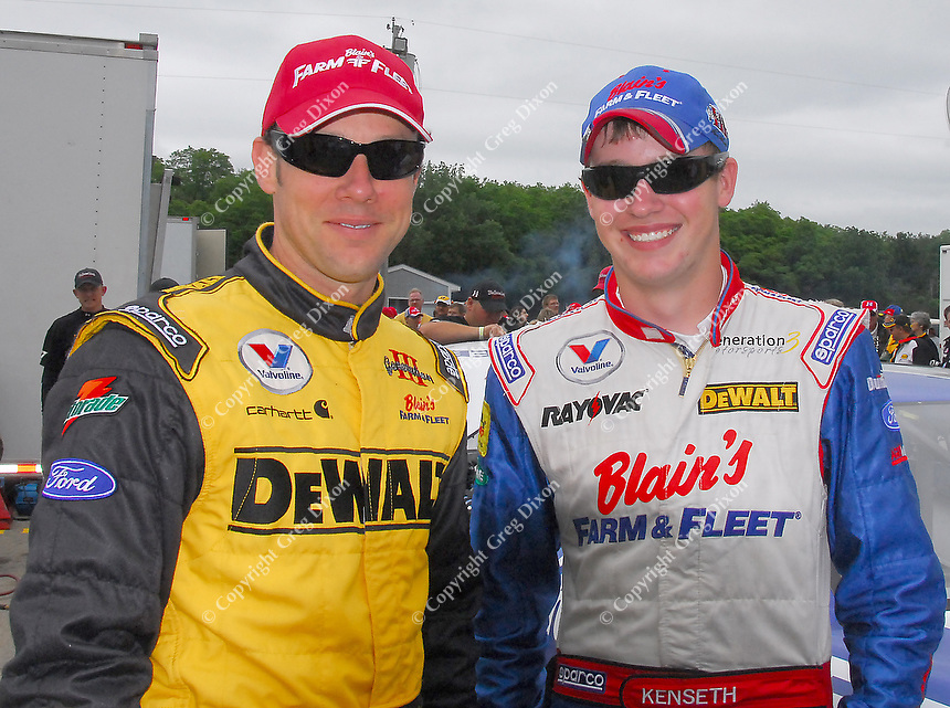 Matt (left) and Ross Kenseth pose at the All-Star Challenge at Madison International Speedway on Tuesday in Oregon, Wisconsin