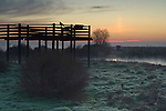 Observation platform deck at sunsrise, Merced National Wildlife Refuge, Central Valley, California