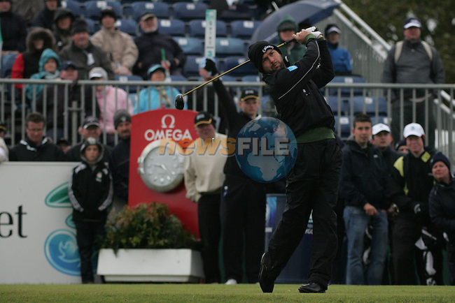Robert Rock Teeing off on the 1st tee box on day 3 of the 3 Irish open in Co Louth Golf Club Baltray..Pic Fran Caffrey/golffile.ie
