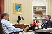 United States President Barack Obama receives an update on the ongoing response to Hurricane Sandy during a conference call with FEMA Administrator Craig Fugate, Dr. Rick Knabb, Director of the National Hurricane Center, and John Brennan, Assistant to the President for Homeland Security and Counterterrorism, in the Oval Office, Oct. 26, 2012. Also pictured are Alyssa Mastromonaco, Deputy Chief of Staff for Operations, and Richard Reed, Deputy Assistant to the President for Homeland Security. .Mandatory Credit: Pete Souza - White House via CNP
