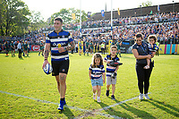 Matt Banahan of Bath Rugby with his kids after the match. Aviva Premiership match, between Bath Rugby and London Irish on May 5, 2018 at the Recreation Ground in Bath, England. Photo by: Patrick Khachfe / Onside Images