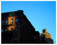 NEW YORK, NY - NOVEMBER 5: Full moon over 83rd street in Yorkville, New York on November 5, 2011. Photo Credit: Thomas R Pryor