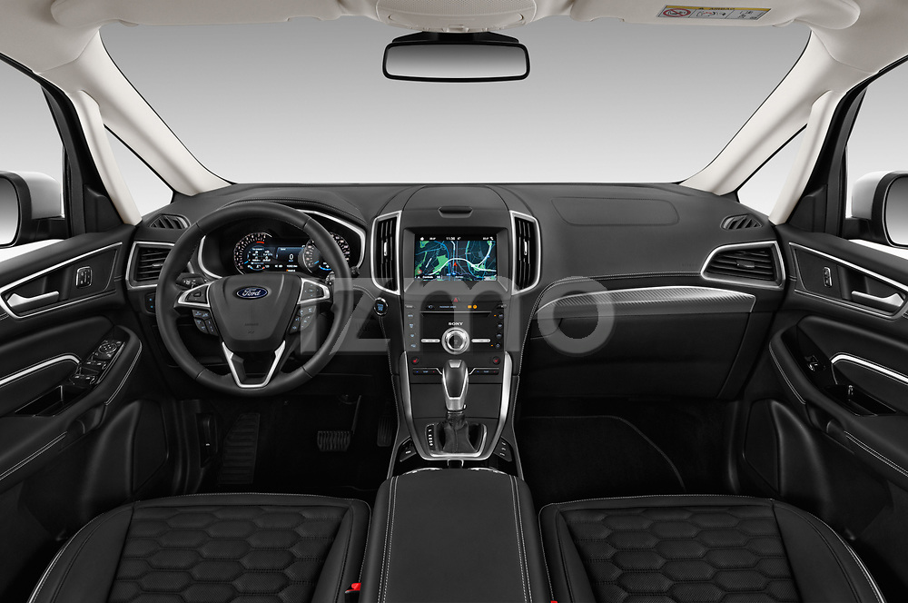 Stock photo of straight dashboard view of a 2018 Ford S-Max Vignale Base 5 Door Mini Van