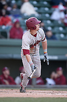Center fielder TJ Hopkins (5) of the South Carolina Gamecocks hits a home run in a game against the Furman Paladins on Tuesday, March 19, 2019, at Fluor Field at the West End in Greenville, South Carolina. South Carolina won, 12-7. (Tom Priddy/Four Seam Images)