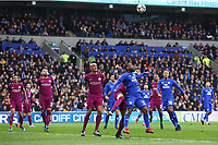 Junior Hoilett of Cardiff City and Kyle Walker of Manchester City battle during the Fly Emirates FA Cup Fourth Round match between Cardiff City and Manchester City at the Cardiff City Stadium, Wales, UK. Sunday 28 January 2018