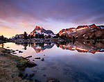 Alpenglow, Mount Banner and Ritter reflection at Island Pass on the John Muir Trail, Ansel Adams Wilderness, California