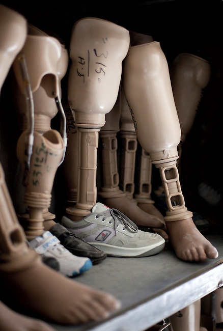 20 August 2011, Kabul, Afghanistan: Artificial limbs at the International Committee of the Red Cross (ICRC) Orthopaedic Centre in Kabul where victims of war as well as the disabled, are fitted with artificial limbs, hand made on the compound. Picture by Graham Crouch for The Australian Magazine